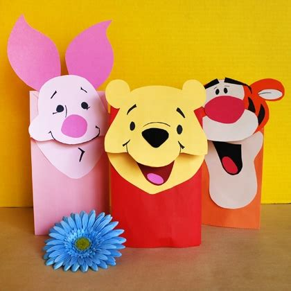 Puppet From Paper - pooh friends paper bag puppets disney family