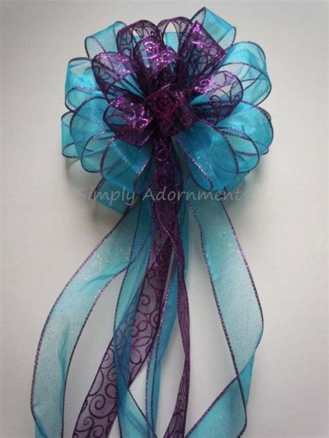 blue christmas tree bows purple blue winter wedding pew bow tree topper bow birthday shower decoration