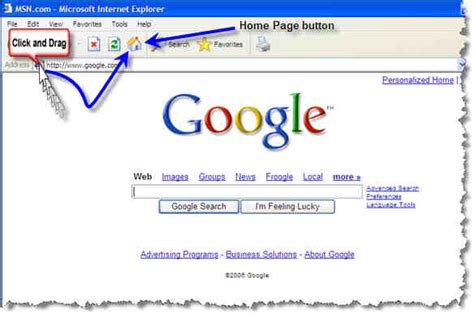 explorer home page how to change your home page