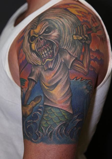 colored portrait of eddie from iron maiden tattoo by mario