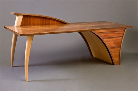 computer desk wood studio designs trimerous desk console hardwood table seth rolland