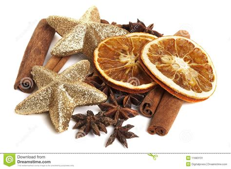dry sticks decoration drone fly tours cinnamon sticks anis and dried oranges stock image