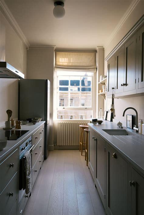 small galley kitchen  bespoke breakfast nook