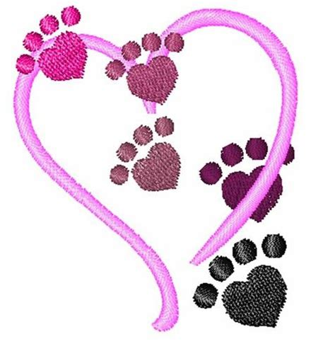 embroidery design dog get this cute dog paws and heart embroidery design by