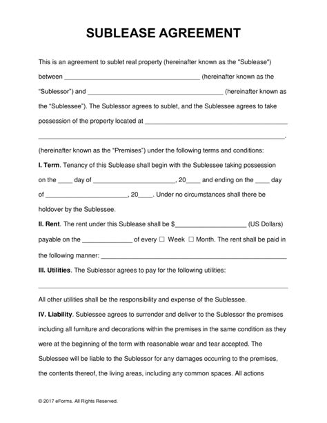 residential sublease agreement template free rental lease agreement templates residential