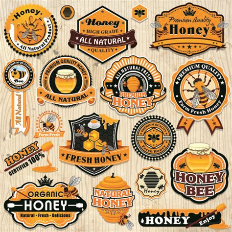 Vintage Honey Labels And Badges Vector Free Vector In Adobe Illustrator Ai Ai Vector Badge Illustrator Template