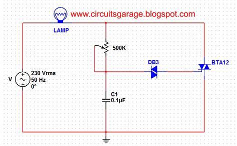 L Dimmer Using Triac by Gt Circuits Gt Light Dimmer Circuit Using Diac And Triac