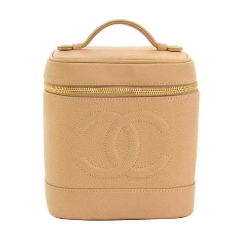 Leather Vanity Bag by Chanel Beige Caviar Leather Vanity Bag Cosmetic At