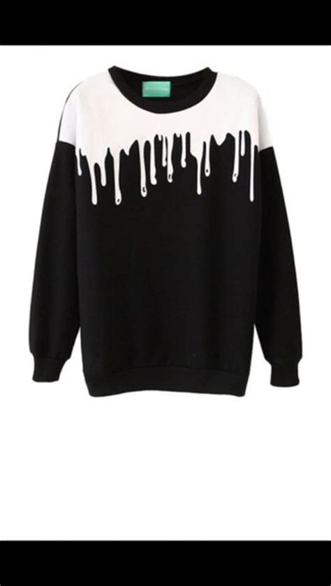 White Color Paint Sweater sweater back sweater white paint drip crewneck sweater black style black sweater