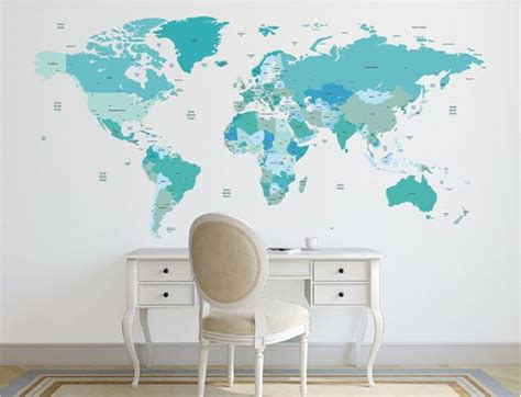 world map with country names decal world map decal political world map wall decal country
