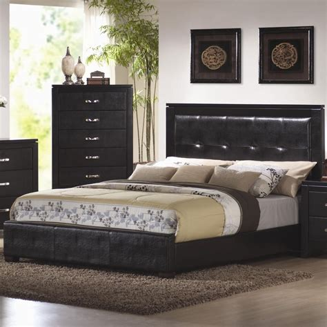 black queen size bedroom sets coaster 201401q black queen size leather bed steal a