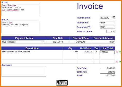 how to create a new invoice template in quickbooks invoice in excel excel invoice template for free how to