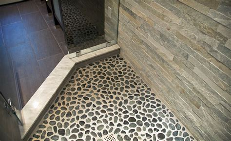 rock flooring bathroom river rock tile sheets homesfeed