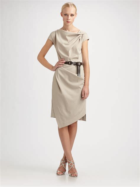michael kors stretch wool origami belted dress in beige