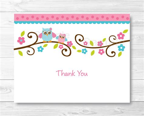 free printable thank you card template pink owl thank you card folded card template owl baby