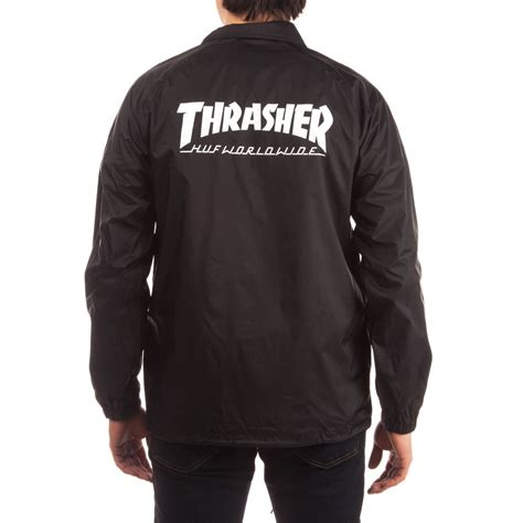 Sweater Hoodie Thrasher X Huf Premium huf x thrasher classic h coaches jacket black