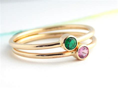simple birthstone ring 14k yellow gold filled ring