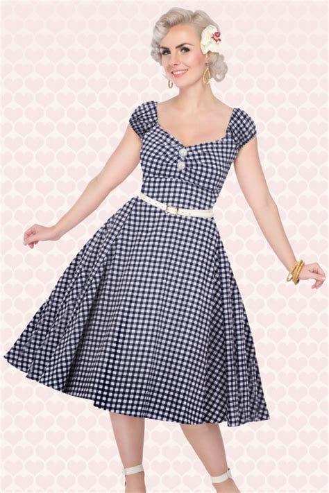 Dress Model Blue Fashion Impor 50s dolores doll gingham dress in navy and white