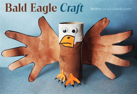 Bald Eagle Papercraft - paper roll handprint bald eagle craft