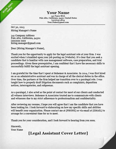 legal letter format legal assistant cover letter