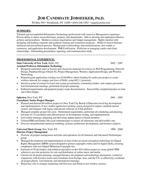 project manager resume sle pharmaceutical project management resume sales