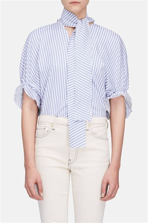 Sleeve Neck ruched sleeve v neck top white blue the line