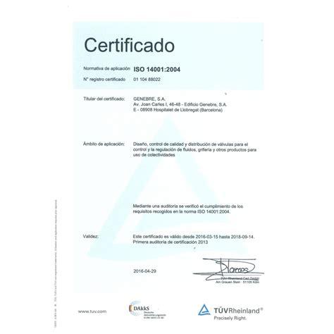 formato de un certificado genebre calidad y certificados