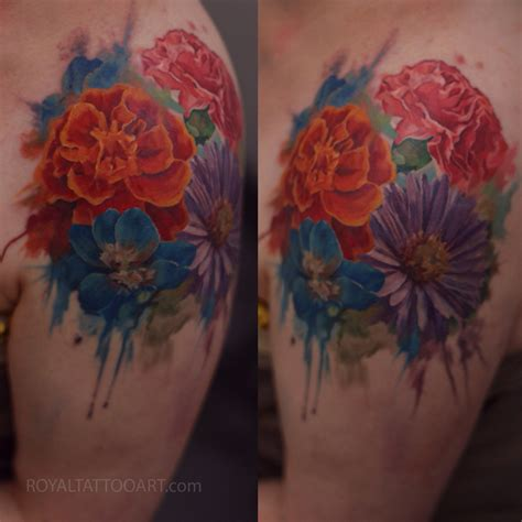 color realism tattoo flower realism