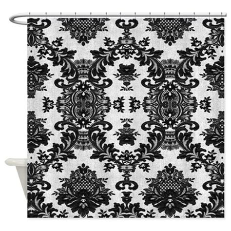 black lace shower curtain black lace on white shower curtain by artonwear