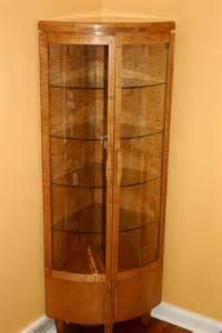 Handmade corner curio cabinet by whim wood custom furniture