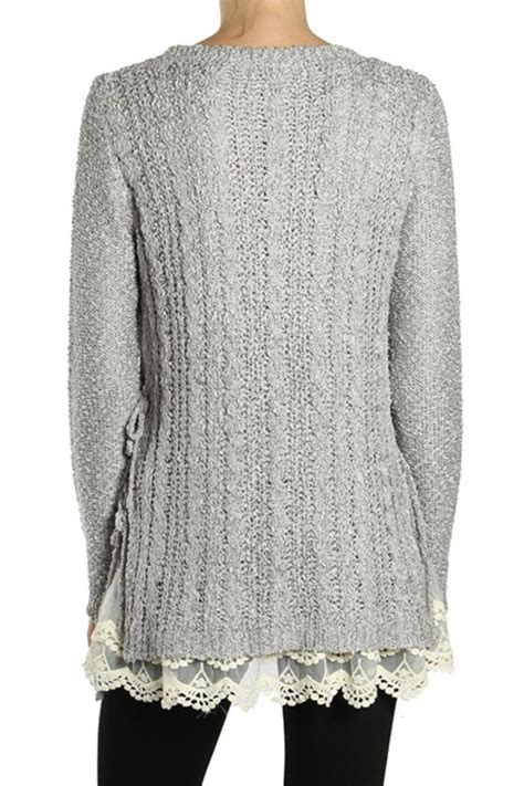 Lace Sweater Gray a reve grey lace sweater from michigan by trends