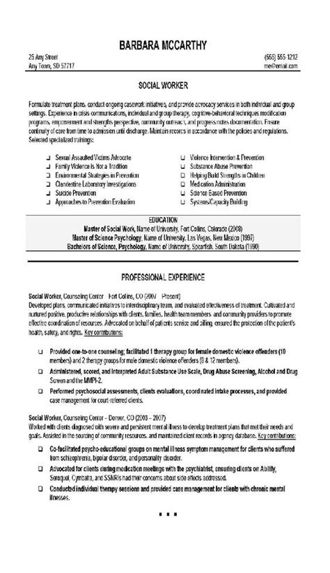 Resume For Social Worker by Social Worker Resume 4 Social Work Social