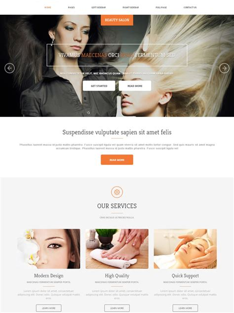 exles of hair websites hair salon website template beauty salon beauty