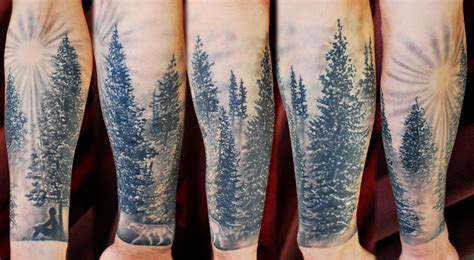black and grey forest tattoo 20 nice forest scenery tattoos