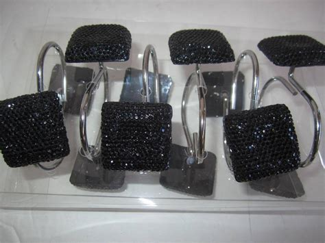 black rhinestone shower curtain hooks bling bath accessory