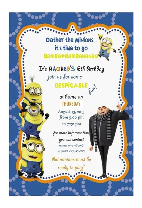 despicable me birthday card template best 25 minion invitations ideas on