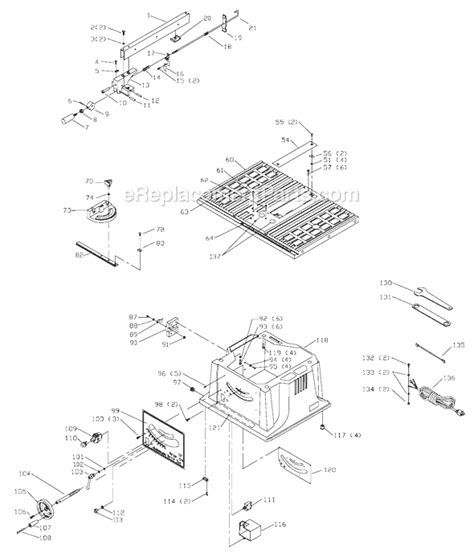 delta bench saw parts delta 36 540 parts list and diagram type 4