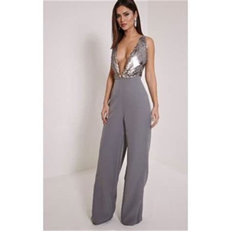 Darcey Gold Sequin Plunge Cross Back Jumpsuit Rosie Huntington Whiteley Hides Sunglasses For