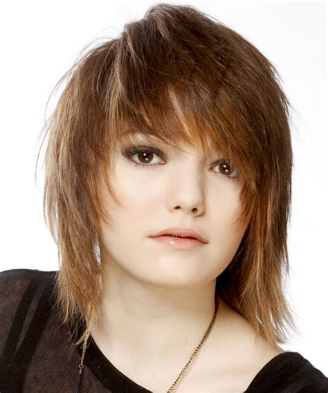 light straight bangs medium straight casual emo hairstyle with side swept bangs