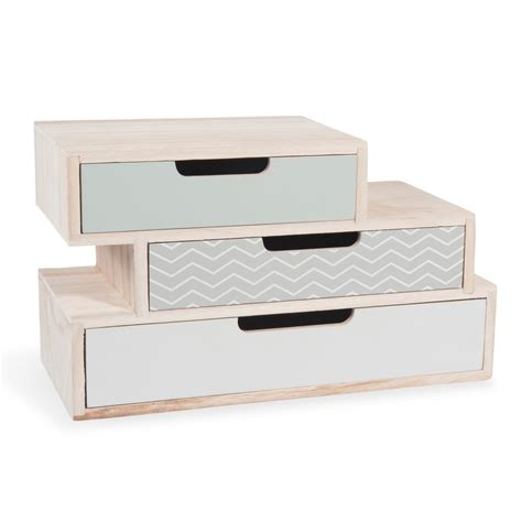lade wood prezzi nolita wooden box with 3 drawers w 30cm maisons du monde