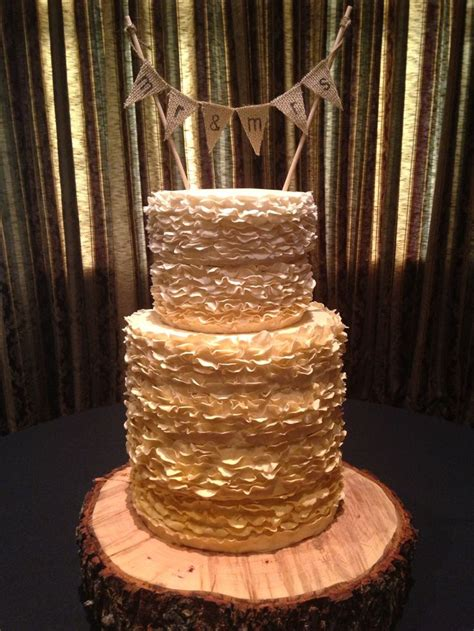 fondant ruffle gold ombre wedding cake kj takes  cake pinterest ruffles ombre