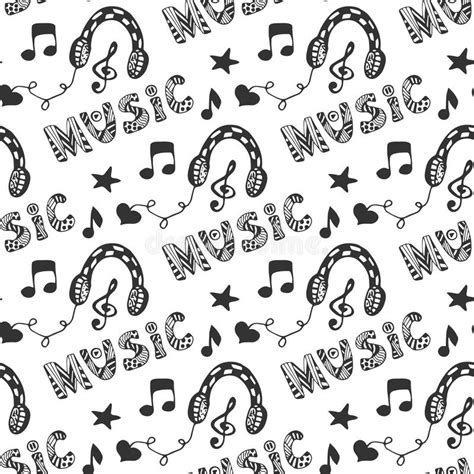 seamless pattern music melody song music seamless pattern with hand drawn headphones and
