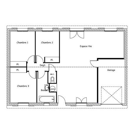 Plan Maison 100m2 Plein Pied 4115 by Plan Maison Rectangulaire Plain Pied 100m2