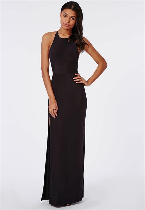 Maxi Hs slinky high neck maxi dress black dresses maxi dresses missguided