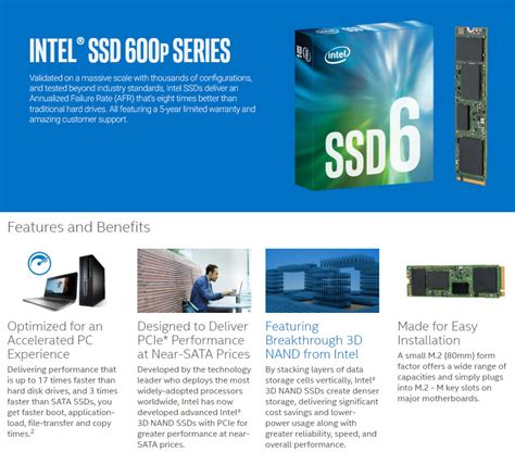 Intel Ssd 512gb 600p Series M 2 intel 600p series 512gb m 2 ssd ssdpekkw512g7 pc gear