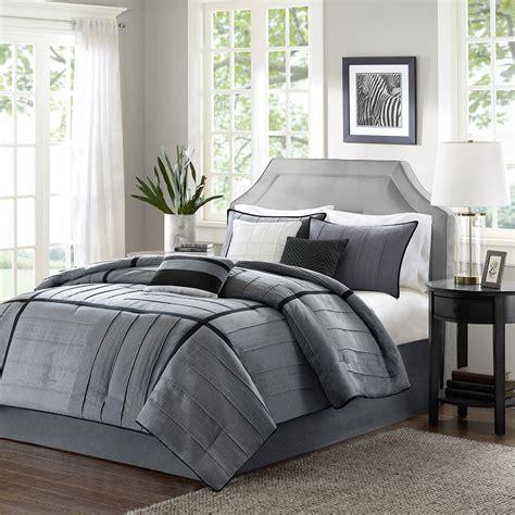 Bedding Set by Beautiful 7 Pc Grey Black Ivory Soft Modern Comforter Set