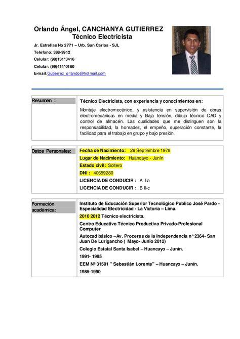 Modelo Curriculum Tecnico Electricista calam 233 o curriculum vitae