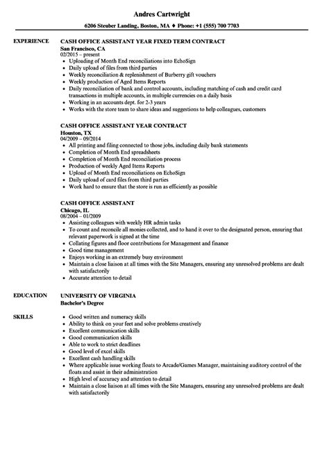 cash office assistant resume sles velvet jobs