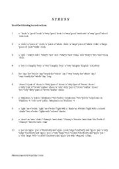 stress patterns english worksheet english teaching worksheets stress