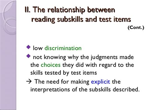 reading comprehension test validity sub skills in reading comprehension tests